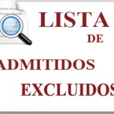 Listas provisionales de admitidos – Curso 2019/2020