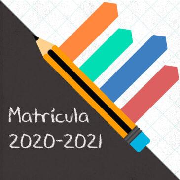Formularios matrícula curso 2020/2021
