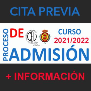 Admisión curso 2021/2022 – ÚLTIMOS DÍAS (Del 01 al 20 de Marzo)